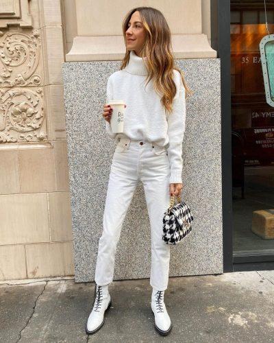Cómo llevar pantalones blancos en invierno 1